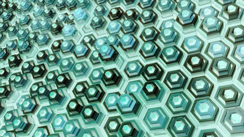 Looped Abstract Geometric Background with Glossy Hexagon Surfaces Animation