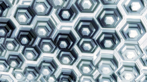 Looped Abstract Geometric Background with Glossy Hexagon Surfaces CG動画素材