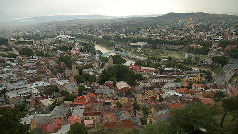 Aerial view of narrow streets and closely located houses in cozy Tbilisi city Footage