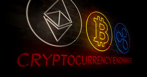 Cryptocurrency exchange 3D neon Animation