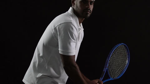 Latin sportsman demonstrating strong tennis shot, fitness lifestyle, workout Footage