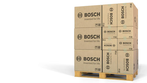 Boxes with Bosch logo on pallet. Editorial 3D animation Live Action