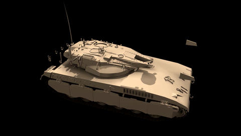 Assembling a battle tank in parts in motion Black background Footage Animation 2 Animation