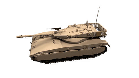 Assembling a battle tank in parts White background Animation