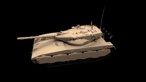 Assembling a battle tank in parts Black background Footage, Stock Animation