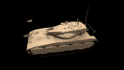 Assembling a battle tank in parts Black background Footage Animation