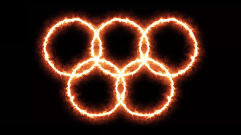 4k Olympic Games Background With Burning Rings Animation