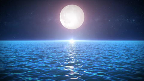 Seascape In The Moonlight Background Stock Video Footage