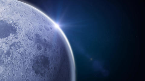 Side Moon On Blue Space Background Animation