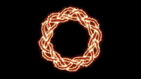 4k Fire Celtic Symbol Spinning Loop Animation