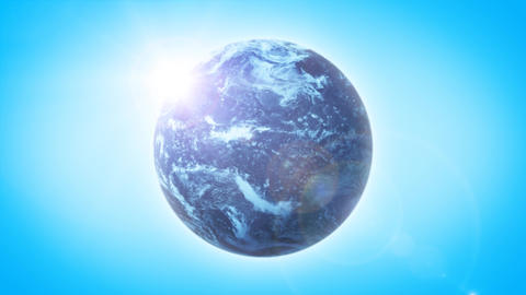 Beautiful HD Earth Planet On Sky Background Loop Animation