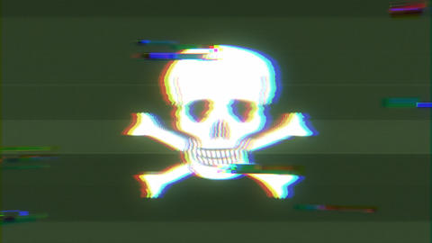 Skull And Cross Bones Icon On Bad Old Film Tape Animation