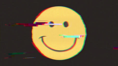 Smiley Icon With Distortion And Glitch Effect Animation