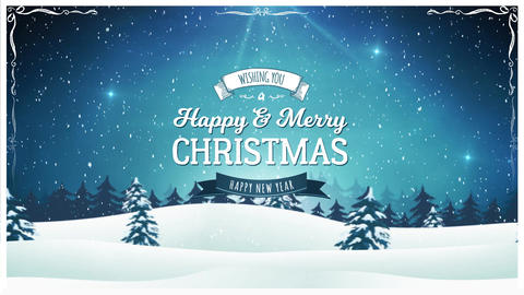 Vintage Christmas Landscape Background Animation