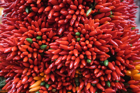 Red hot chilli peppers pattern texture background Photo