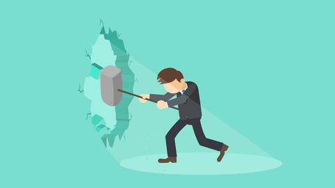 Business man breaking the wall. Freedom and challenge concept. Loop illustration CG動画素材