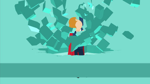 Super Hero business man breaking the wall. Freedom and challenge concept. Loop Animation