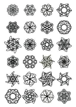 Mega set of small circle lace design elements, black drawing on white background ベクター