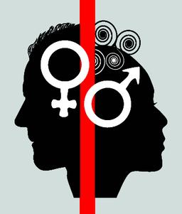 Half face profile of a woman and a man, symbols for the sex of a female and a Vector
