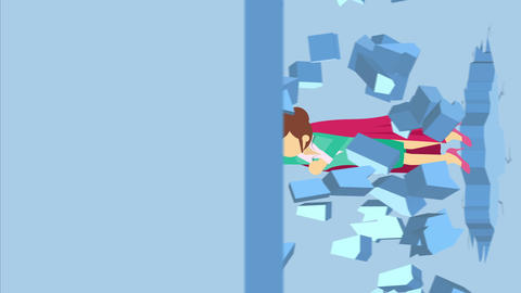 Super Hero business woman breaking the wall. Freedom and challenge concept. Loop Animation