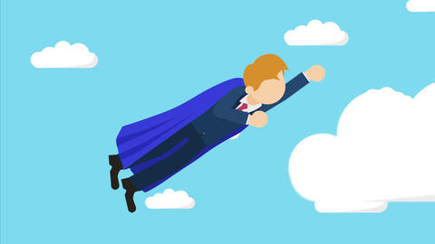 Super Hero business man flying in suit and red cape. Leadership and achievement Animation