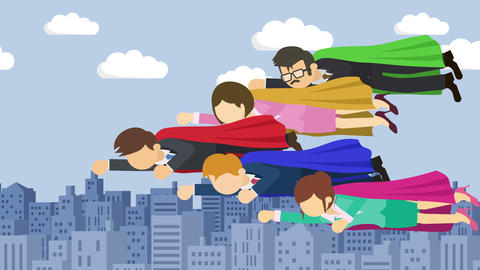 Super Hero business team flying in suit and red cape. Leadership and achievement Animation