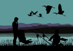 Boys on fish and herons Vector