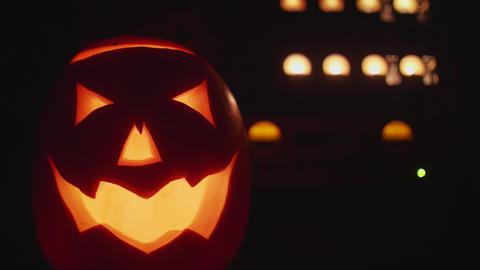 Halloween Pumkin in sound studio night Footage