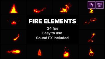 Cartoon Fire Elements Motion Graphics Template