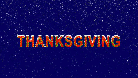 New Year text celebration THANKSGIVING. Snow falls. Christmas mood, looped Animation