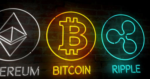 Bitcoin ethereum ripple retro neon 3D Animation