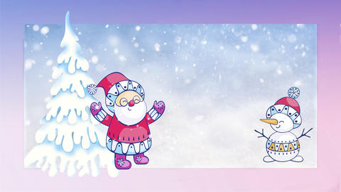 Christmas card with the image of Santa Claus and snowman Fotografía