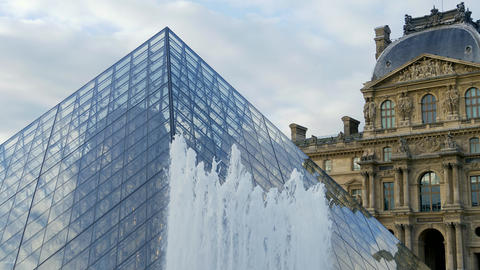 PARIS, FRANCE - September 30, 2017. Louvre museum in... Stock Video Footage