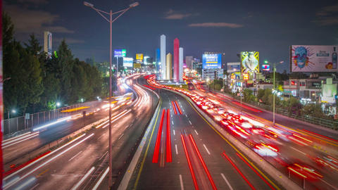 Stunning night view of a huge highway Mexico City Live Action
