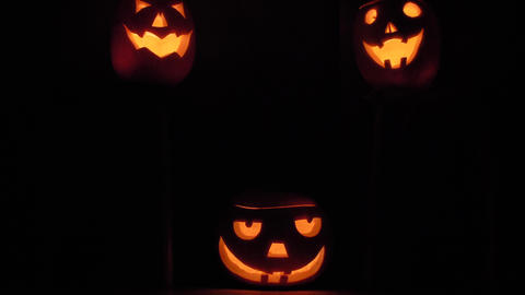 Three Happy Halloween Pumpking more light in the dark Footage