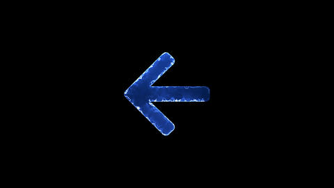 Symbol arrow left. Blue Electric Glow Storm. looped video. Alpha channel black Animation