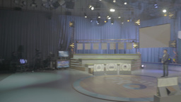 Panorama of the empty TV Studio before a live Footage