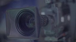 Close-up TV cameras in a TV Studio Footage