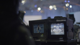 The backstage works in a TV Studio during live TV broadcast Footage
