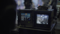 Monitor with TV broadcasts in the Studio during the recording Footage