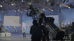 The camera on the crane works in a TV Studio Footage