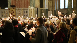 Congregation singing at Westminster Cathedral London UK Footage