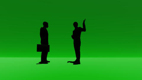 Silhouette two people talking on green Footage