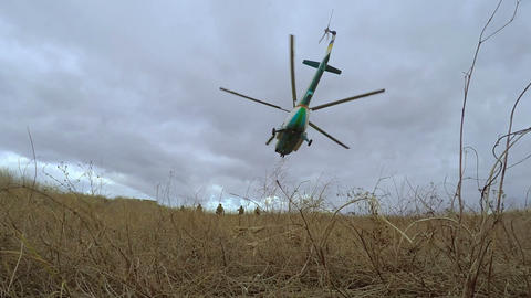 Special force landing from helicopter Live Action