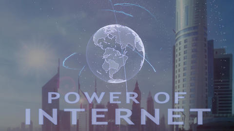 Power of internet text with 3d hologram of the planet… Stock Video Footage
