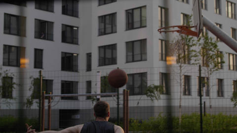 Successful dunk shot from street basketball player Footage