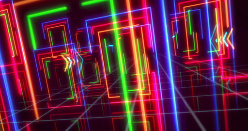 Neon frames lights abstract background Animation