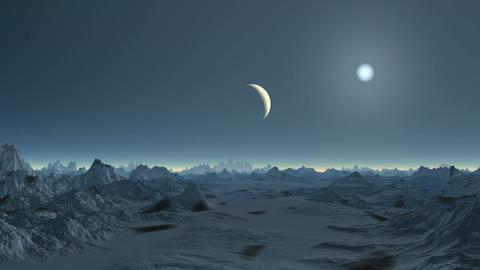 Moonset on Alien Planet Animation