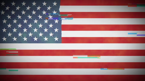 4k American Flag Background Loop With Glitch Fx Animation