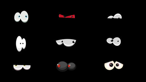 Pack Of Comic Eyes Watching And Blinking Animation
